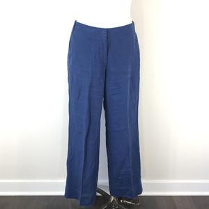 J Jill Blue Love Linen Pants 10 Missy wide leg